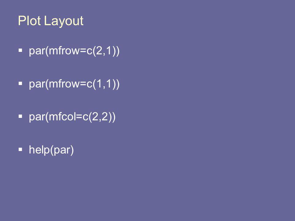 Plot Layout  par(mfrow=c(2,1))  par(mfrow=c(1,1))  par(mfcol=c(2,2))  help(par)