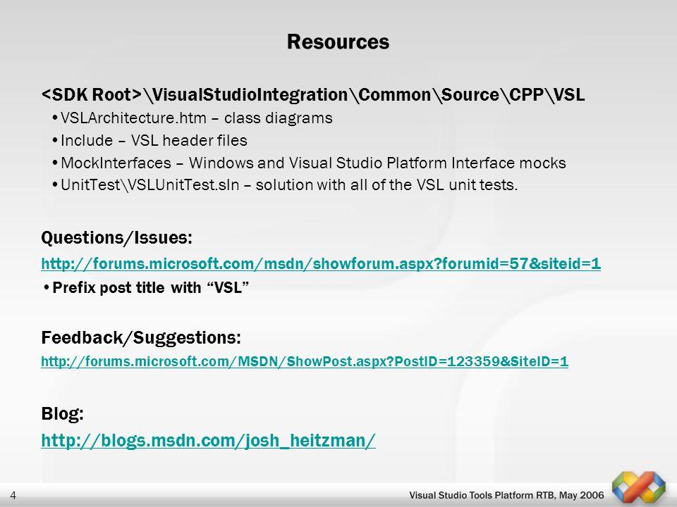 4 Resources \VisualStudioIntegration\Common\Source\CPP\VSL VSLArchitecture.htm – class diagrams Include – VSL header files MockInterfaces – Windows an