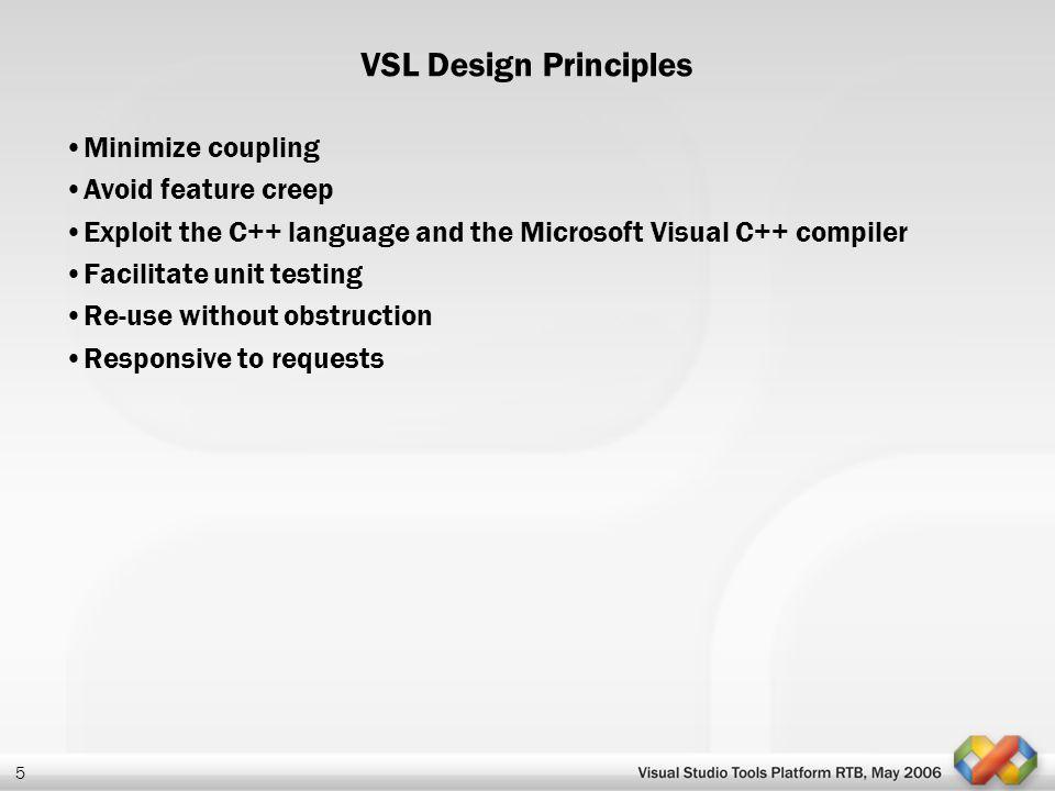 5 VSL Design Principles Minimize coupling Avoid feature creep Exploit the C++ language and the Microsoft Visual C++ compiler Facilitate unit testing R