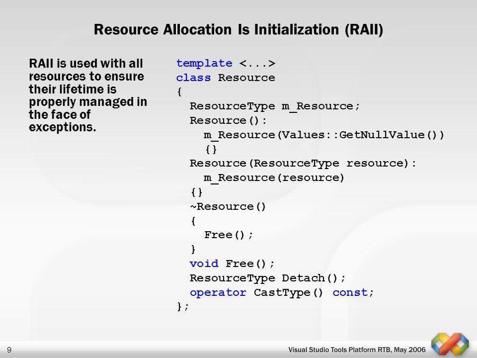 20 The basics necessary to create a VS Package Classes: IVsPackageImpl IVsInstalledProductImpl Registry map macros Header files: VSLPackage.h class Package : public IVsPackageImpl< Package, &CLSID_Package>, public IVsInstalledProductImpl< IDS_PRODUCT_NAME, IDS_PRODUCT_IDENTIFIER, IDS_PRODUCT_DETAILS, IDI_ LOGO> { VSL_BEGIN_REGISTRY_MAP(IDR_PACKAGE_RGS)...