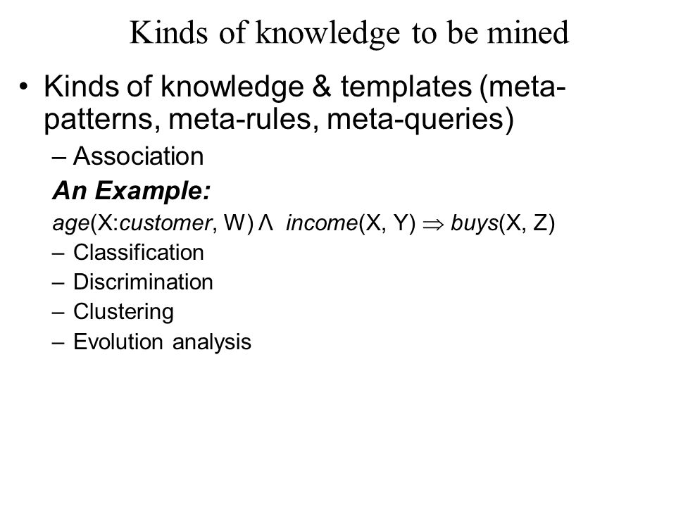Kinds of knowledge to be mined Kinds of knowledge & templates (meta- patterns, meta-rules, meta-queries) –Association An Example: age(X:customer, W) Λ