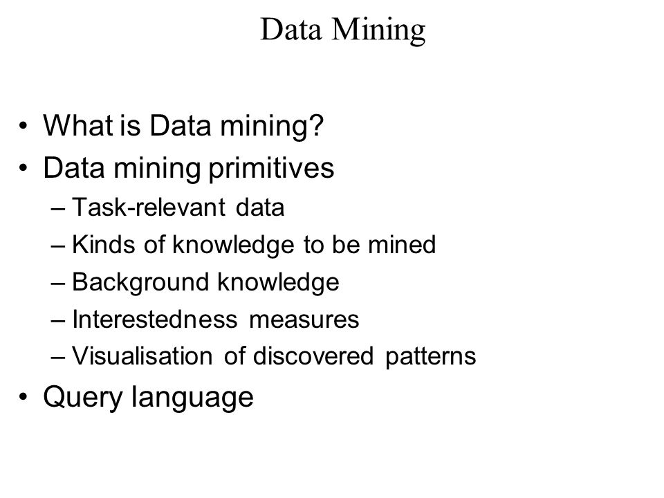 Data Mining Concept Description (Descriptive Datamining) –Data generalisation Data cube (OLAP) approach (offline pre-computation) Attribute-oriented induction approach (online aggregation) Presentation of generalisation Descriptive Statistical Measures and Displays