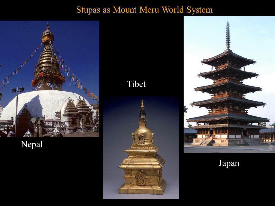 Stupas as Mount Meru World System Nepal Tibet Japan