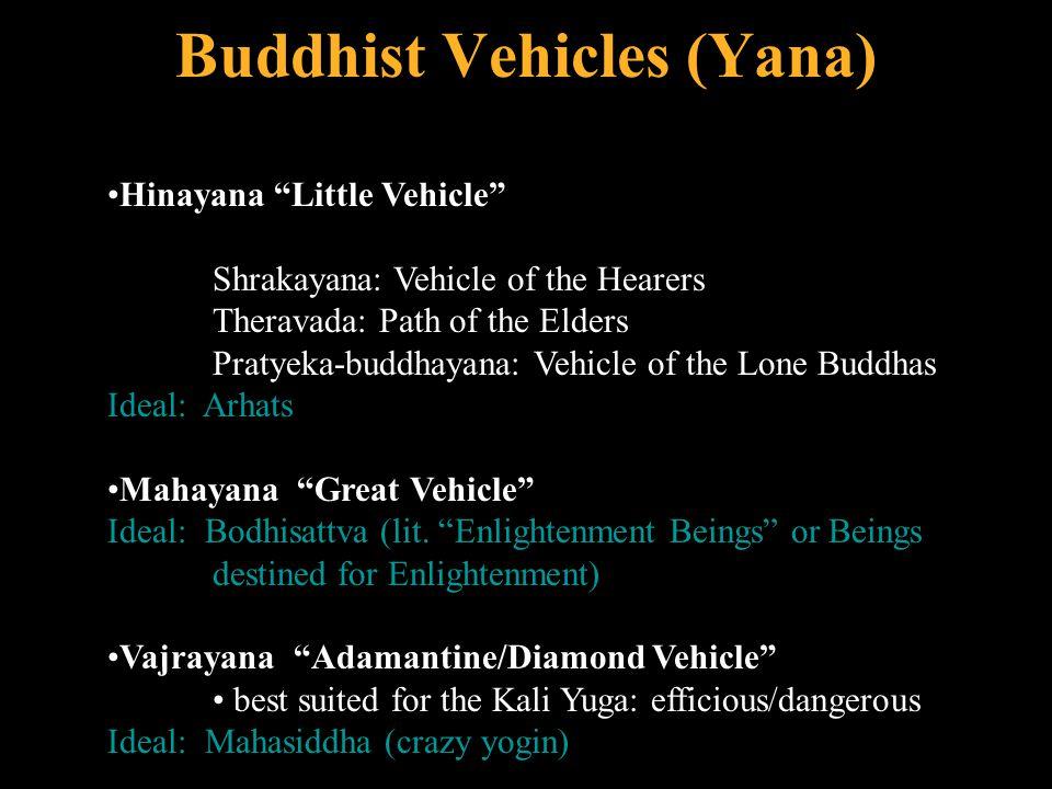 """Buddhist Vehicles (Yana) Hinayana """"Little Vehicle"""" Shrakayana: Vehicle of the Hearers Theravada: Path of the Elders Pratyeka-buddhayana: Vehicle of th"""