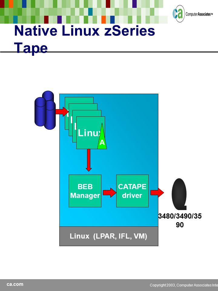 ca.com Copyright 2003, Computer Associates International, Inc Native Linux zSeries Tape Linux Linux (LPAR, IFL, VM) A BEB Manager CATAPE driver 3480/3490/35 90