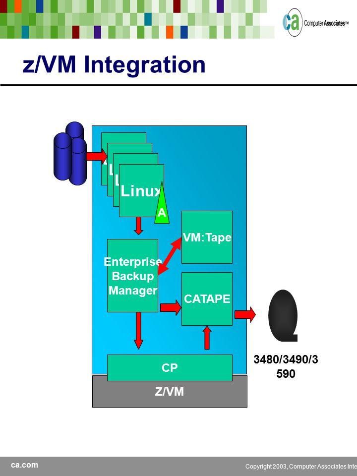 ca.com Copyright 2003, Computer Associates International, Inc z/VM Integration Linux Z/VM A Enterprise Backup Manager CATAPE 3480/3490/3 590 CP VM:Tape
