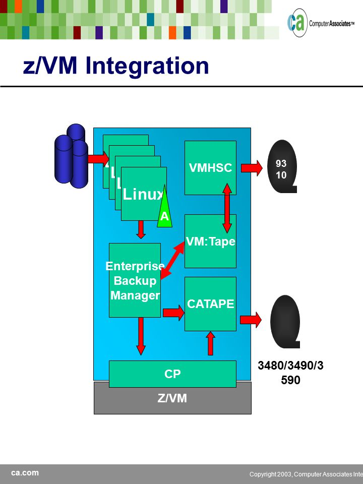 ca.com Copyright 2003, Computer Associates International, Inc z/VM Integration Linux Z/VM A Enterprise Backup Manager CATAPE 3480/3490/3 590 CP VM:Tape VMHSC 93 10