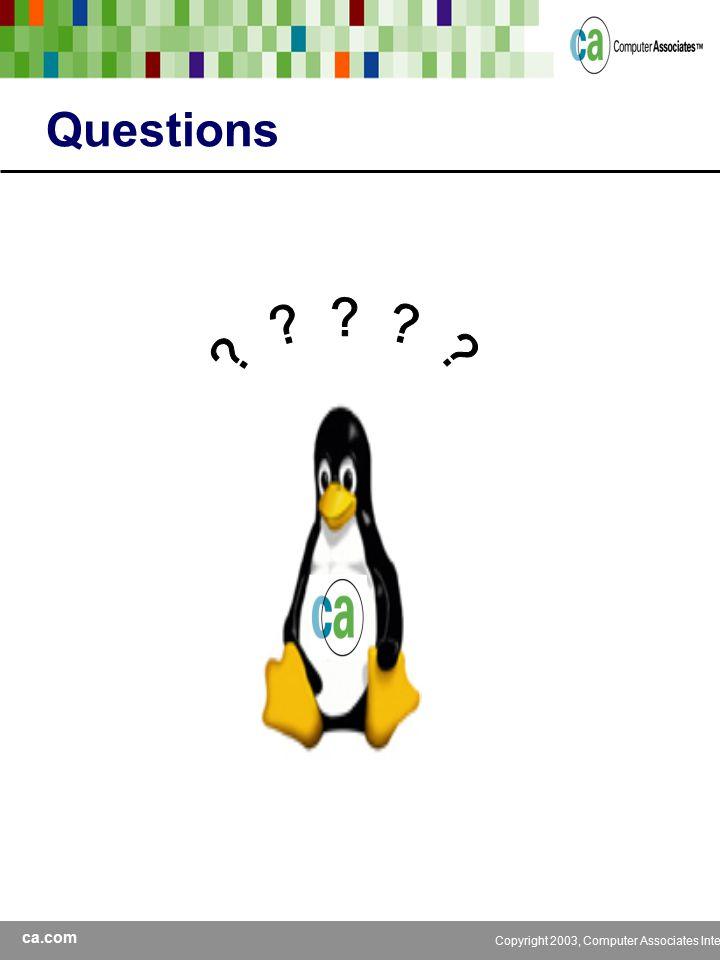 ca.com Copyright 2003, Computer Associates International, Inc Questions