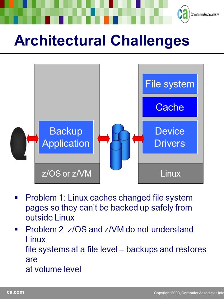 ca.com Copyright 2003, Computer Associates International, Inc Architectural Challenges  Weak S390 tape device support provided with Linux  No integration with BrightStor z/OS or z/VM tape management –CA-1 –CA-Vtape –CA-Dynam/TLMS –CA-VM:Tape –CA-Dynam/T for VM  Not scalable to large numbers of Linux system images Linux tar/pax