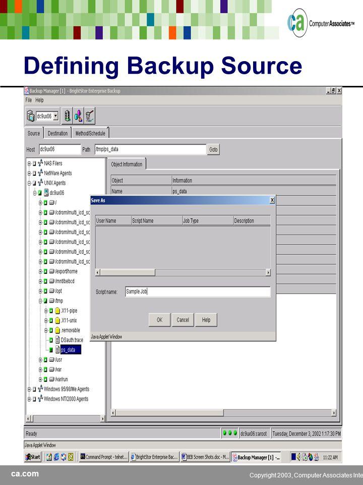 ca.com Copyright 2003, Computer Associates International, Inc Defining Backup Source