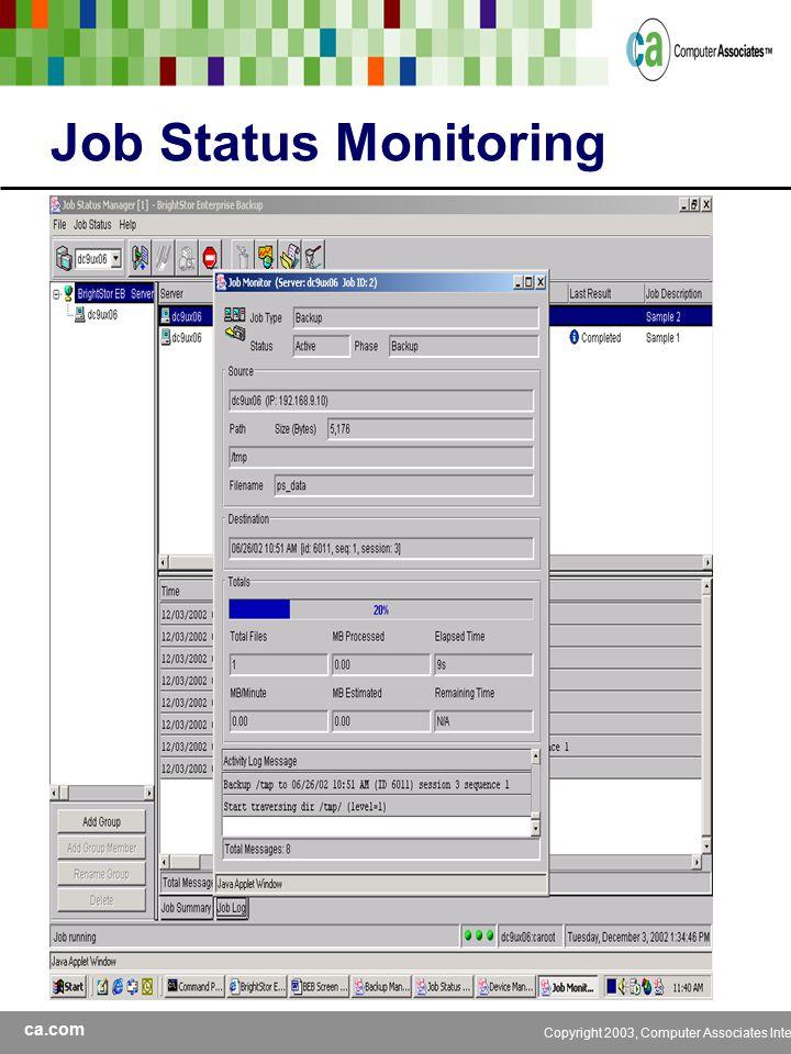 ca.com Copyright 2003, Computer Associates International, Inc Job Status Monitoring
