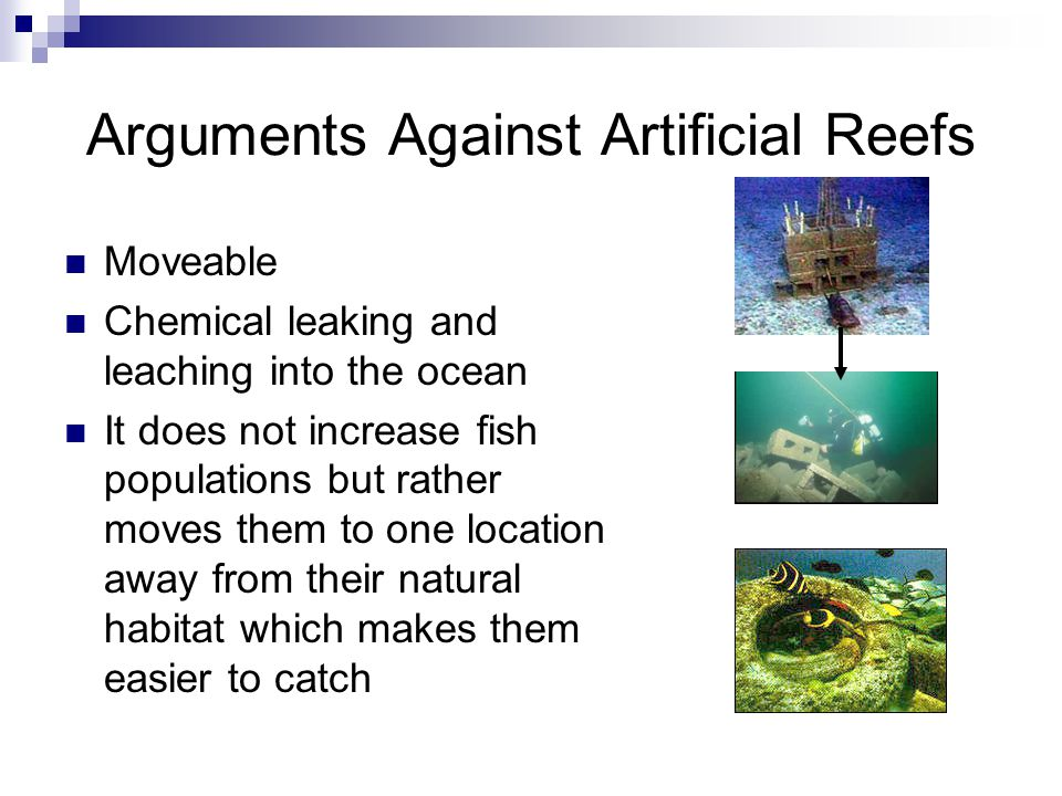 Arguments Against Artificial Reefs Moveable Chemical leaking and leaching into the ocean It does not increase fish populations but rather moves them to one location away from their natural habitat which makes them easier to catch