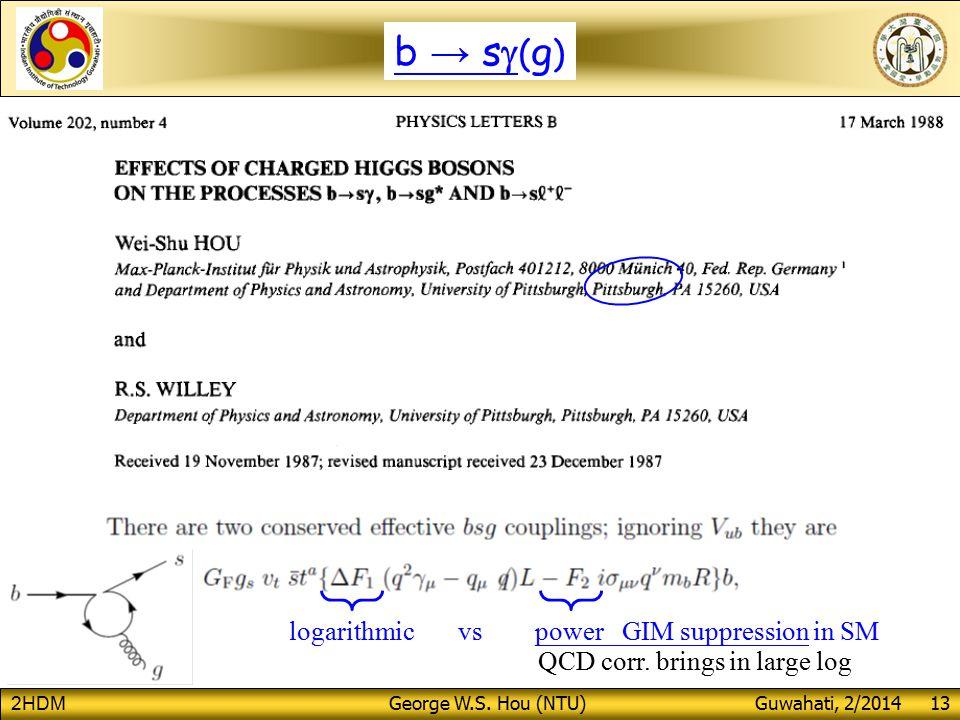 2HDM George W.S. Hou (NTU) Guwahati, 2/2014 13 logarithmic vs power GIM suppression in SM QCD corr.