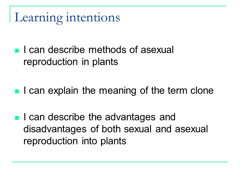Success criteria I can describe methods of asexual plant reproduction I can identify methods of asexual reproduction looking at different plant types I can define the term clone I can complete a table to compare the advantages and disadvantages of asexual and sexual reproduction