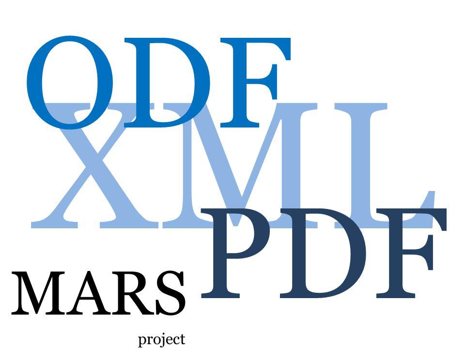 XML ODF PDF MARS project