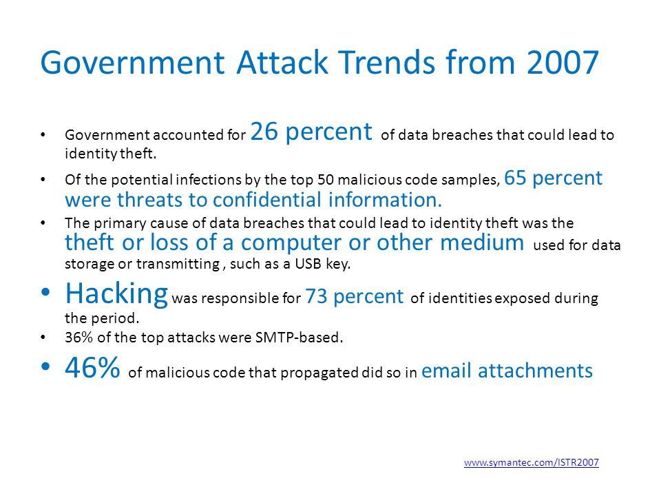 Government Attack Trends from 2007 Government accounted for 26 percent of data breaches that could lead to identity theft.