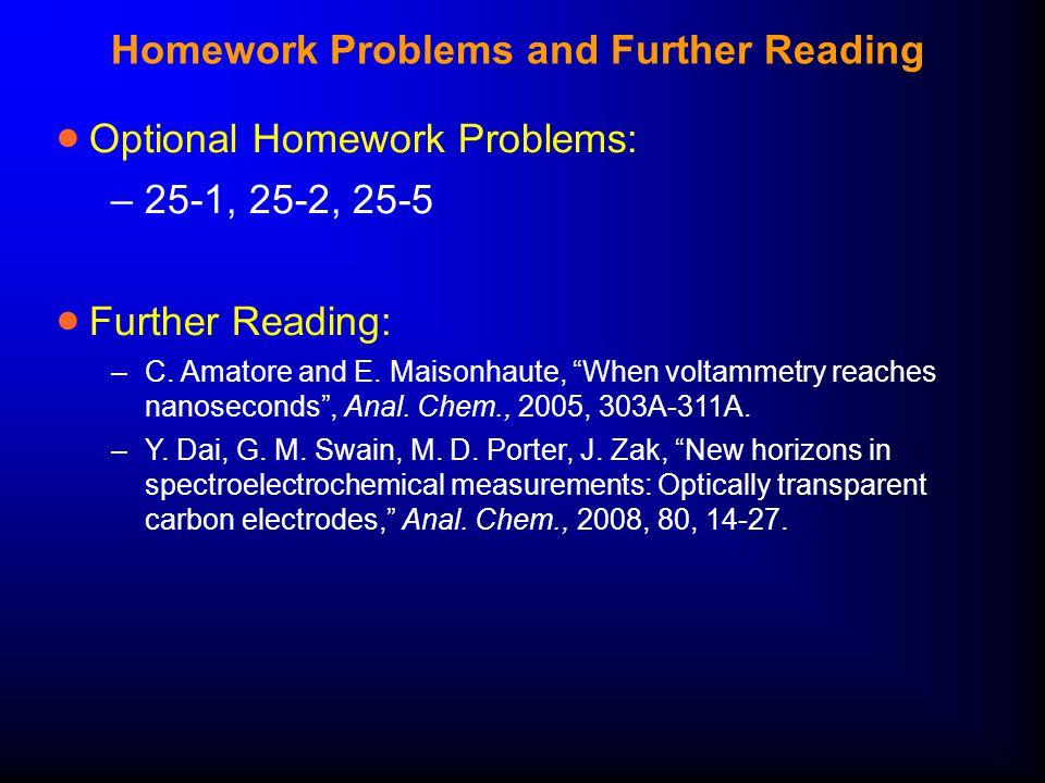 "Homework Problems and Further Reading  Optional Homework Problems: –25-1, 25-2, 25-5  Further Reading: –C. Amatore and E. Maisonhaute, ""When voltamm"