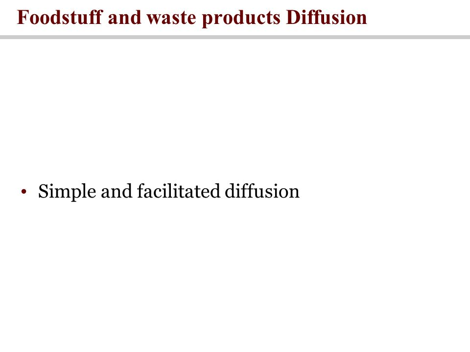 Foodstuff and waste products Diffusion Simple and facilitated diffusion