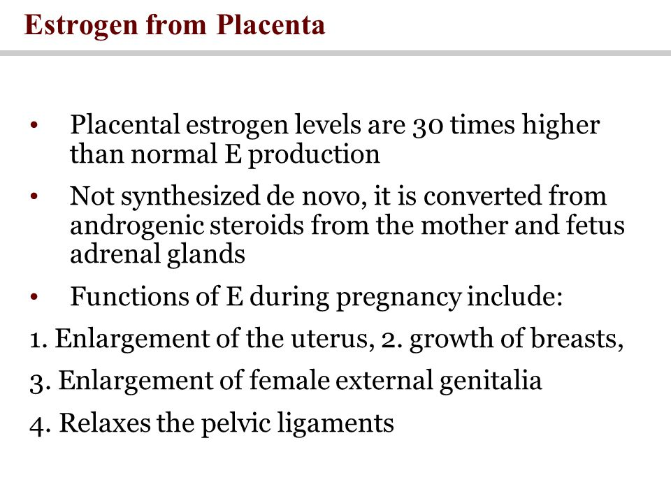 Estrogen from Placenta Placental estrogen levels are 30 times higher than normal E production Not synthesized de novo, it is converted from androgenic steroids from the mother and fetus adrenal glands Functions of E during pregnancy include: 1.