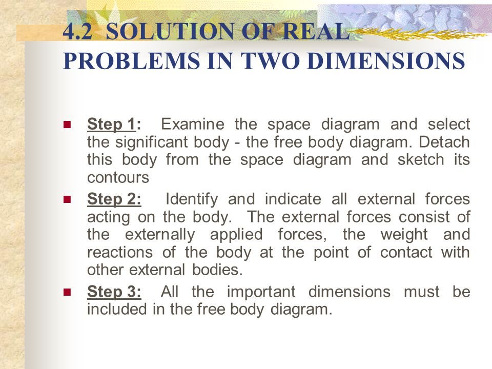 4.2 SOLUTION OF REAL PROBLEMS IN TWO DIMENSIONS Step 1: Examine the space diagram and select the significant body - the free body diagram. Detach this