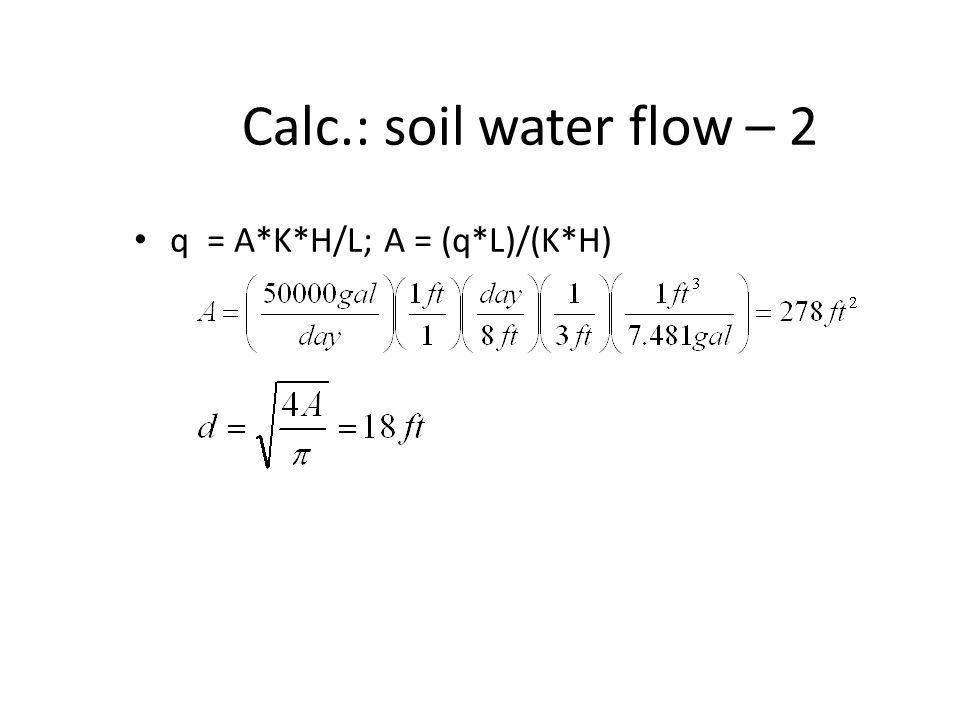 Calc.: soil water flow – 2 q = A*K*H/L; A = (q*L)/(K*H)