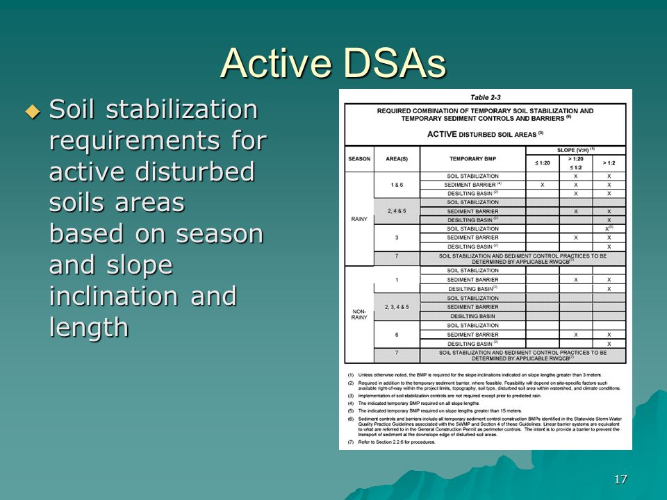 17 Active DSAs  Soil stabilization requirements for active disturbed soils areas based on season and slope inclination and length