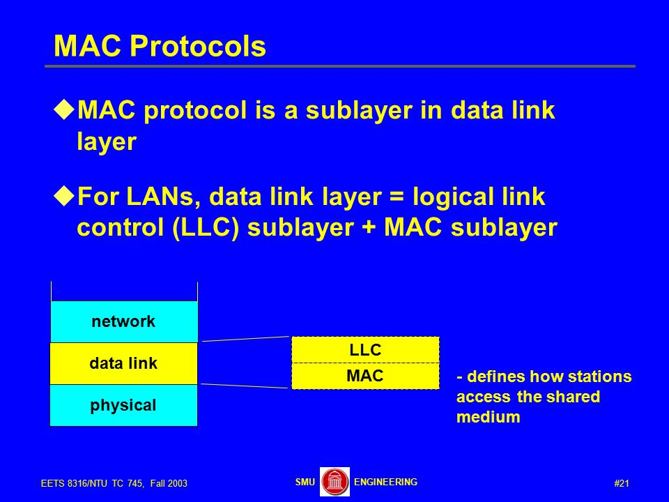 #21EETS 8316/NTU TC 745, Fall 2003 ENGINEERINGSMU MAC Protocols  MAC protocol is a sublayer in data link layer  For LANs, data link layer = logical link control (LLC) sublayer + MAC sublayer data link physical LLC MAC network - defines how stations access the shared medium