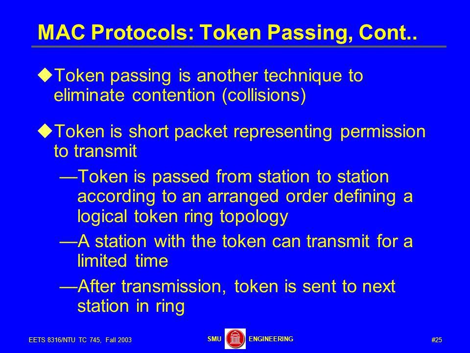 #25EETS 8316/NTU TC 745, Fall 2003 ENGINEERINGSMU MAC Protocols: Token Passing, Cont..