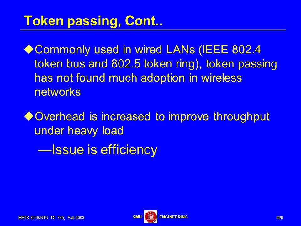 #29EETS 8316/NTU TC 745, Fall 2003 ENGINEERINGSMU Token passing, Cont..