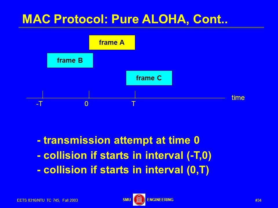 #34EETS 8316/NTU TC 745, Fall 2003 ENGINEERINGSMU MAC Protocol: Pure ALOHA, Cont..