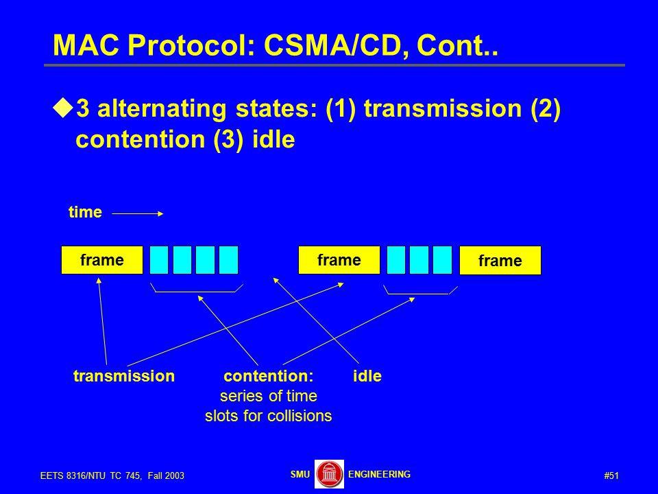 #51EETS 8316/NTU TC 745, Fall 2003 ENGINEERINGSMU MAC Protocol: CSMA/CD, Cont..