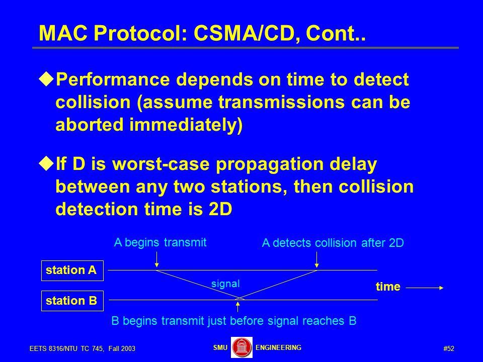 #52EETS 8316/NTU TC 745, Fall 2003 ENGINEERINGSMU MAC Protocol: CSMA/CD, Cont..