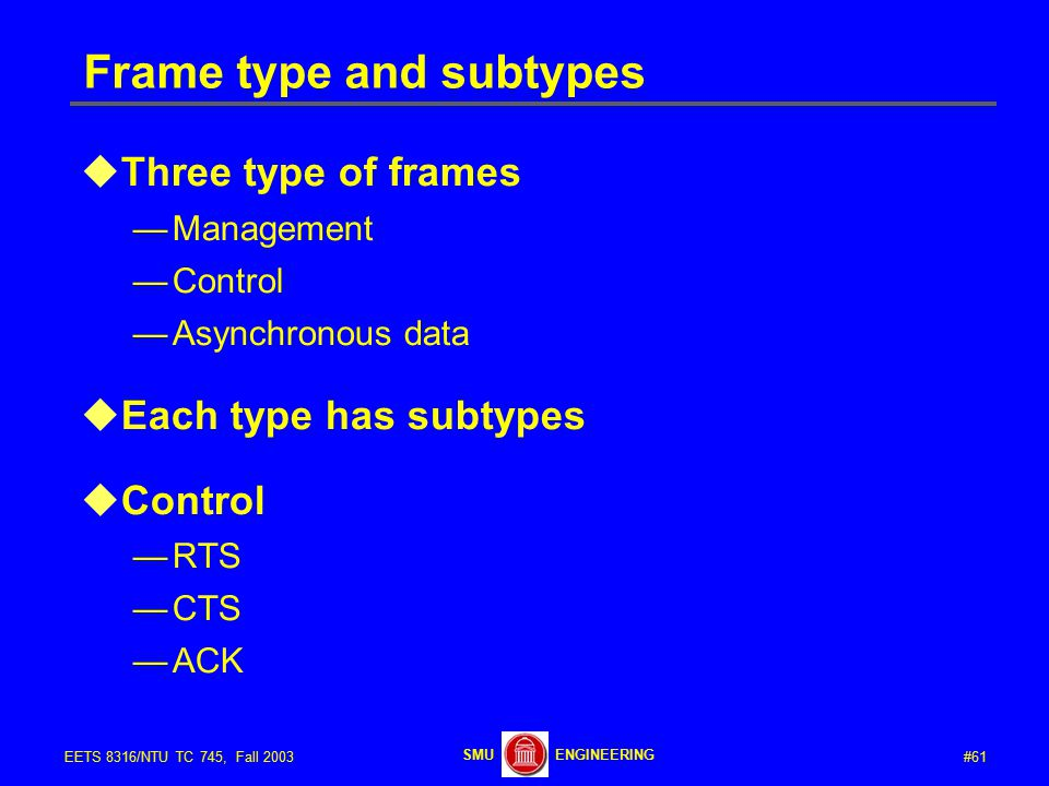 #61EETS 8316/NTU TC 745, Fall 2003 ENGINEERINGSMU Frame type and subtypes  Three type of frames —Management —Control —Asynchronous data  Each type has subtypes  Control —RTS —CTS —ACK
