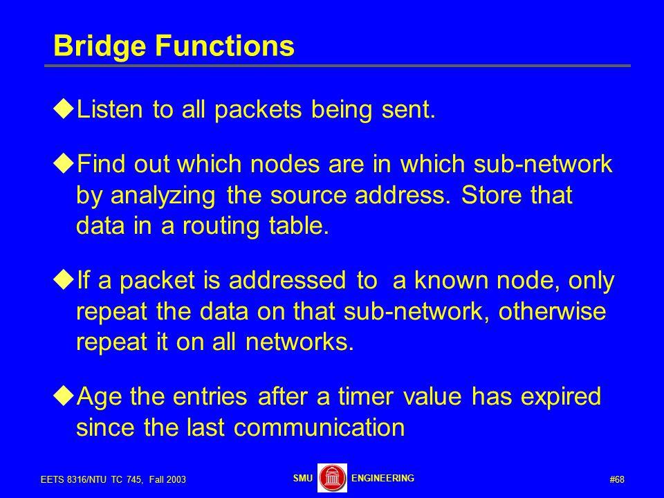 #68EETS 8316/NTU TC 745, Fall 2003 ENGINEERINGSMU Bridge Functions  Listen to all packets being sent.