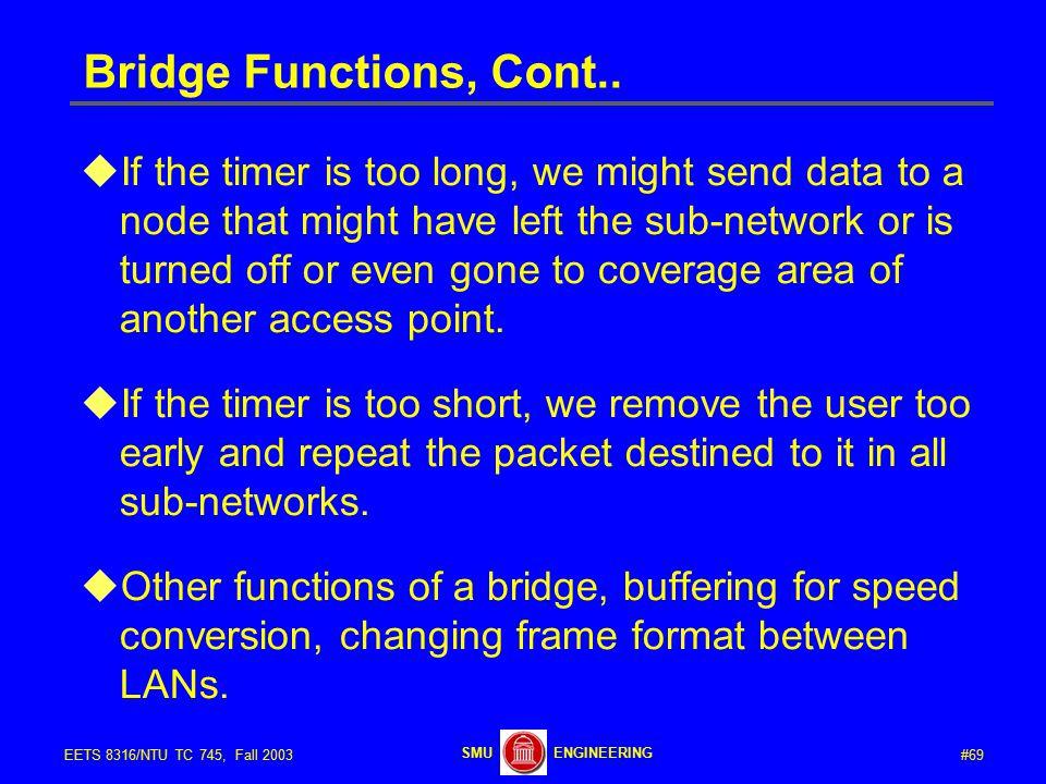 #69EETS 8316/NTU TC 745, Fall 2003 ENGINEERINGSMU Bridge Functions, Cont..