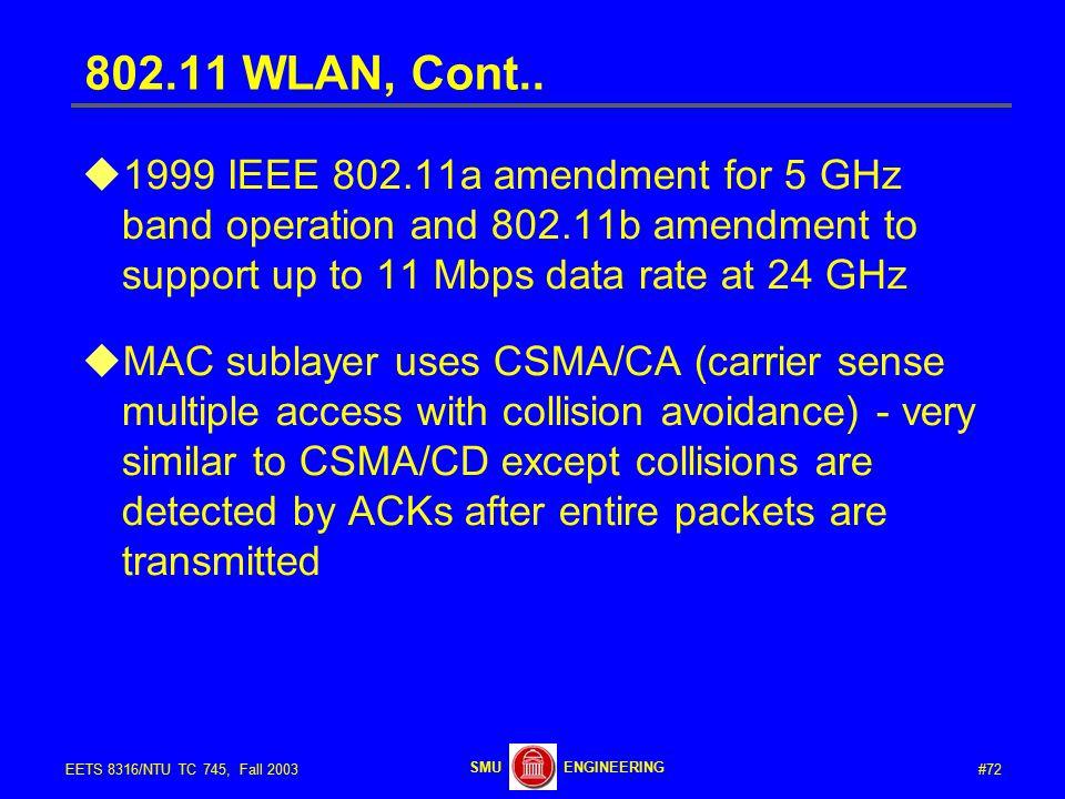 #72EETS 8316/NTU TC 745, Fall 2003 ENGINEERINGSMU 802.11 WLAN, Cont..
