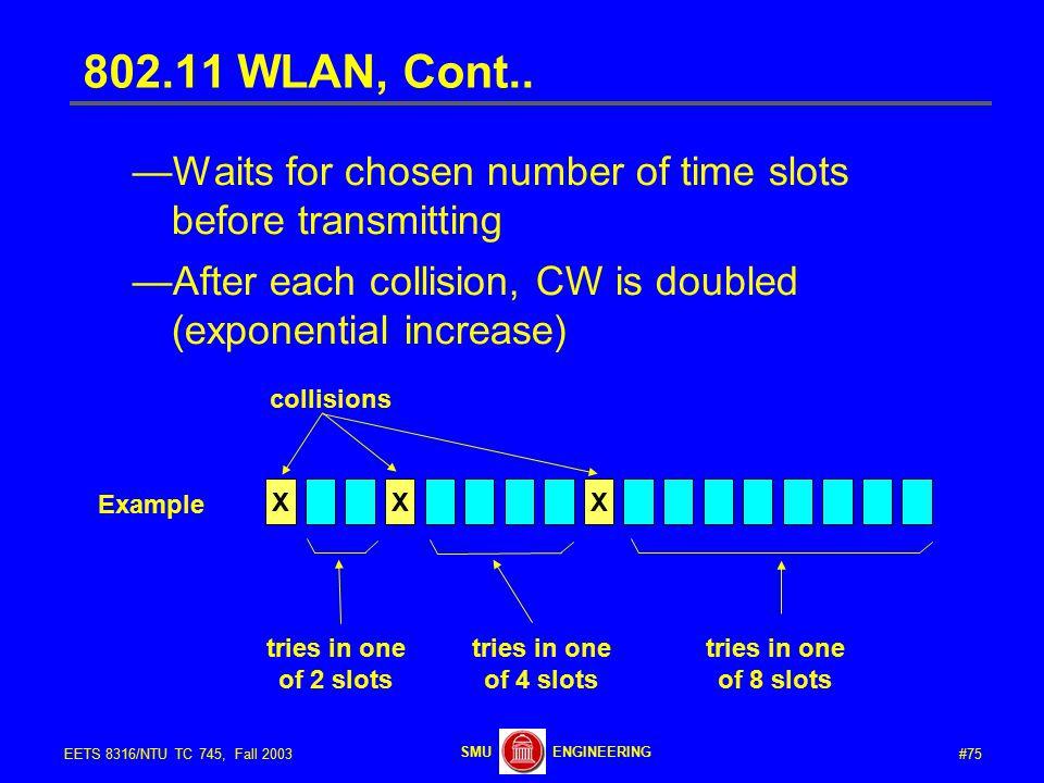 #75EETS 8316/NTU TC 745, Fall 2003 ENGINEERINGSMU 802.11 WLAN, Cont..