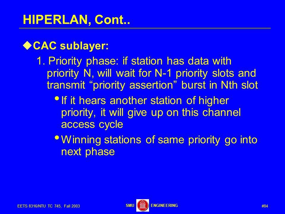 #84EETS 8316/NTU TC 745, Fall 2003 ENGINEERINGSMU HIPERLAN, Cont..