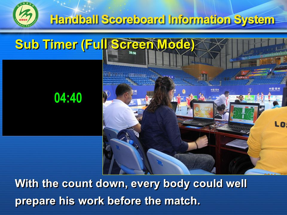 Sub Timer (Full Screen Mode) With the count down, every body could well prepare his work before the match.