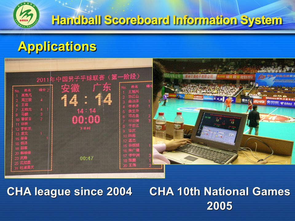 Applications CHA league since 2004 CHA 10th National Games 2005 CHA 10th National Games 2005