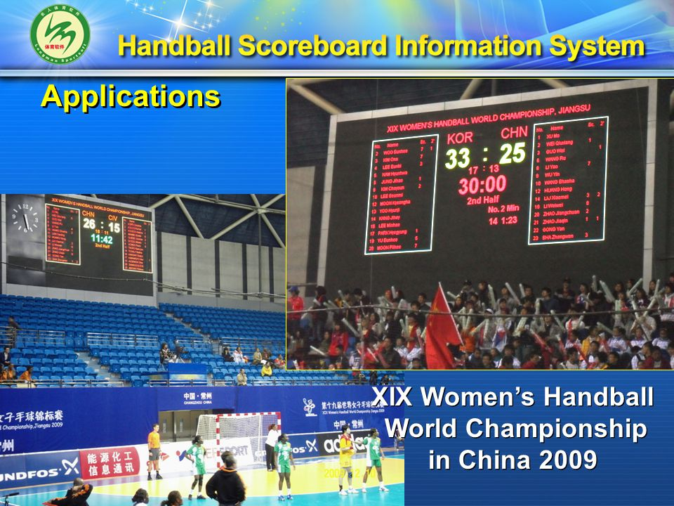 Applications XIX Women's Handball World Championship in China 2009 XIX Women's Handball World Championship in China 2009