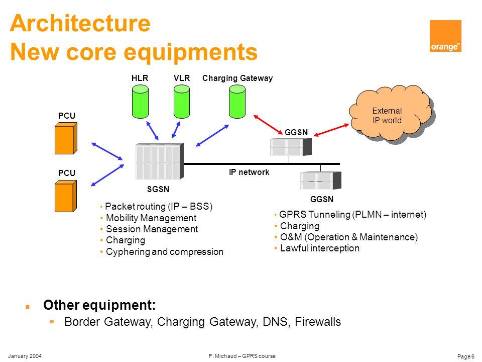 January 2004 F. Michaud – GPRS course Page 26 Analysis and optimisation n Traffic analysis