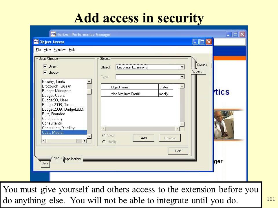 101 Add access in security You must give yourself and others access to the extension before you do anything else. You will not be able to integrate un