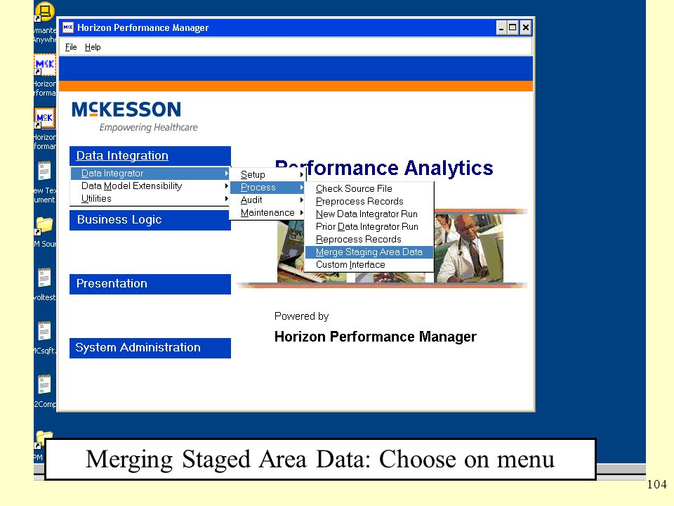 104 Merging Staged Area Data: Choose on menu