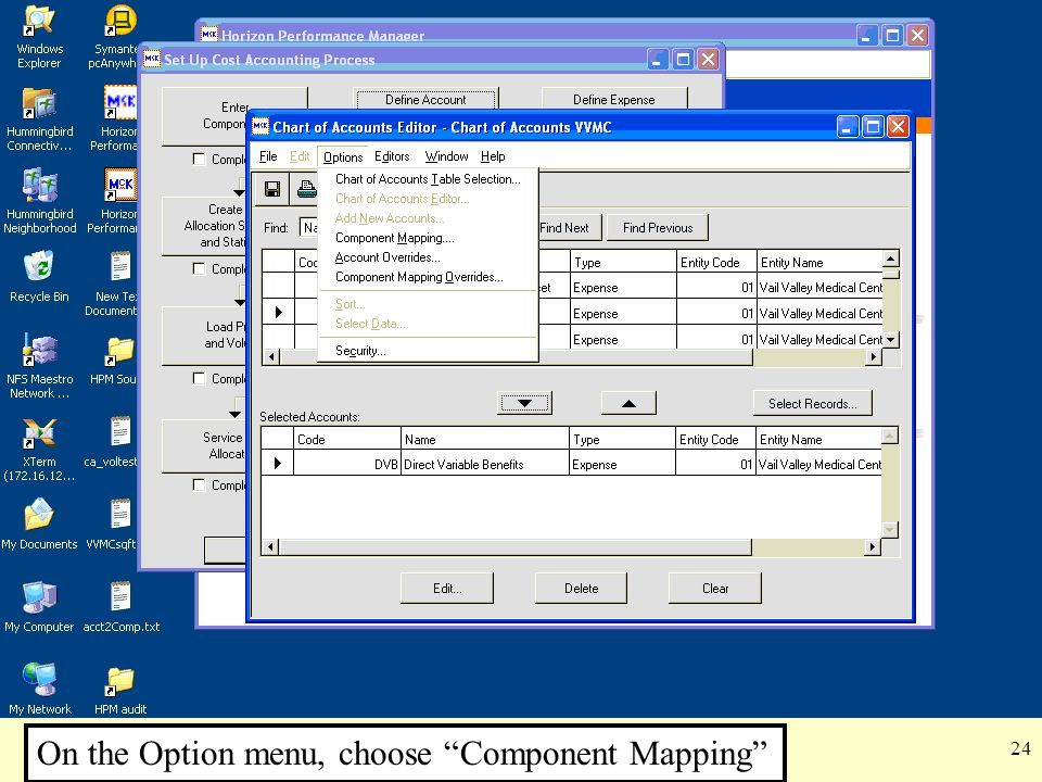 "24 On the Option menu, choose ""Component Mapping"""