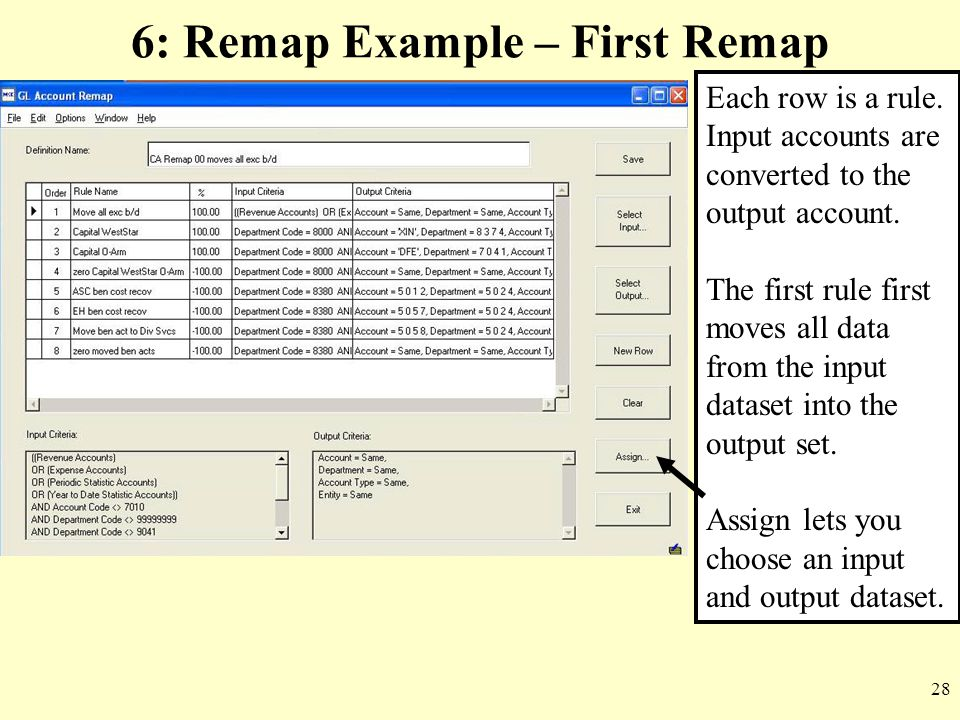 28 6: Remap Example – First Remap Each row is a rule. Input accounts are converted to the output account. The first rule first moves all data from the