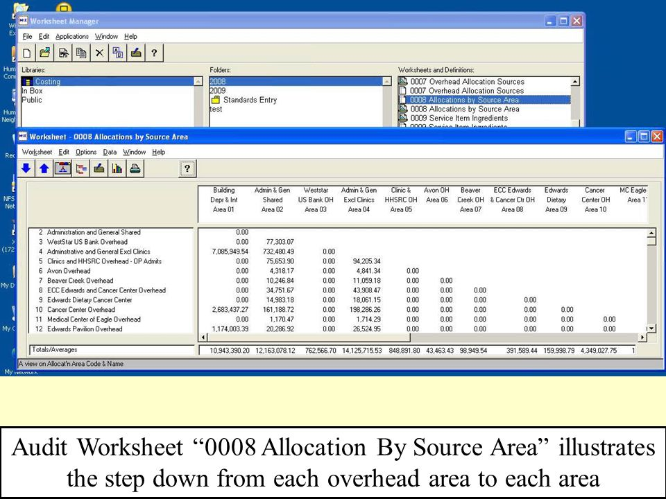 "49 Audit Worksheet ""0008 Allocation By Source Area"" illustrates the step down from each overhead area to each area"