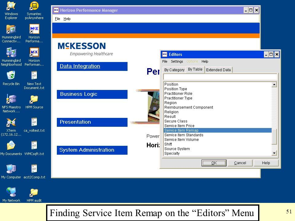 "51 Finding Service Item Remap on the ""Editors"" Menu"