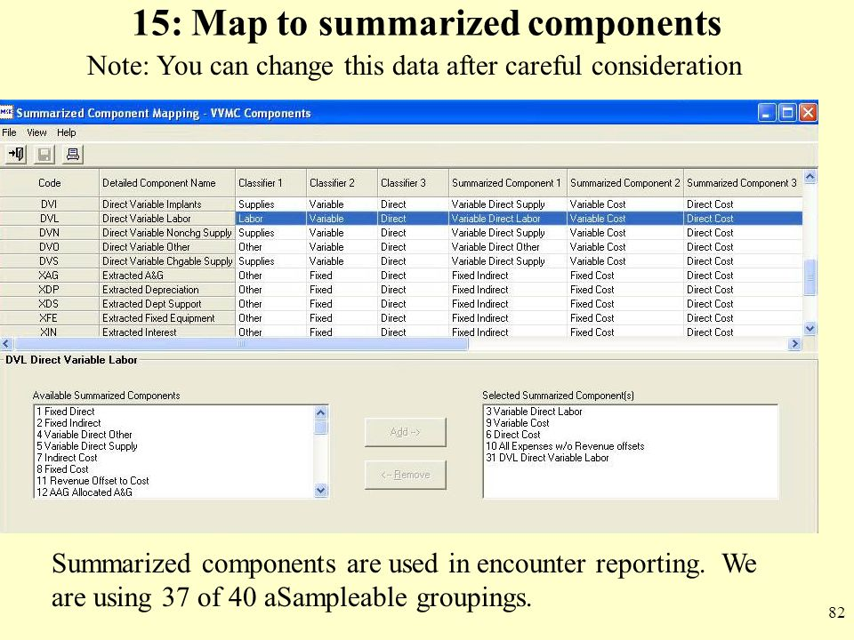 82 15: Map to summarized components Summarized components are used in encounter reporting. We are using 37 of 40 aSampleable groupings. Note: You can