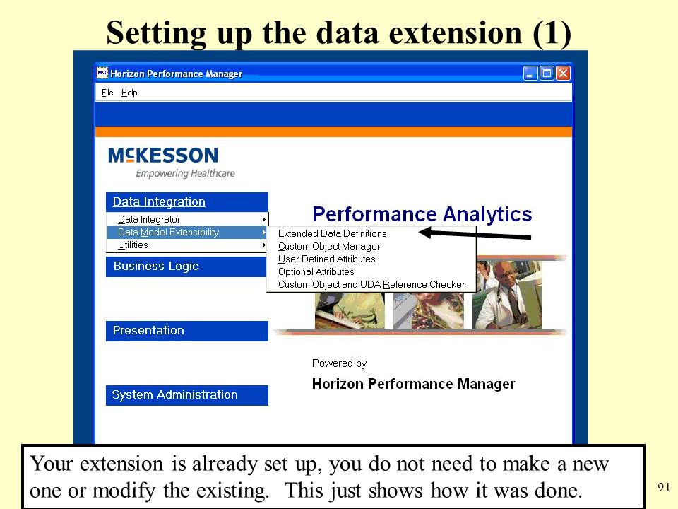 91 Setting up the data extension (1) Your extension is already set up, you do not need to make a new one or modify the existing. This just shows how i
